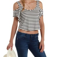 Ivory Combo Striped Ruffle Cold Shoulder Crop Top by Charlotte Russe