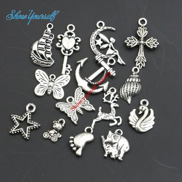 Mixed Antique Silver Plated Cross Anchor Butterfly Angel Star Charms Pendants for Necklace Jewelry Making DIY Handmade Craft