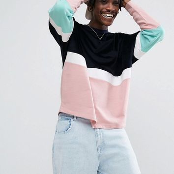 ASOS Oversized Sweatshirt With Velour Colour Blocking at asos.com