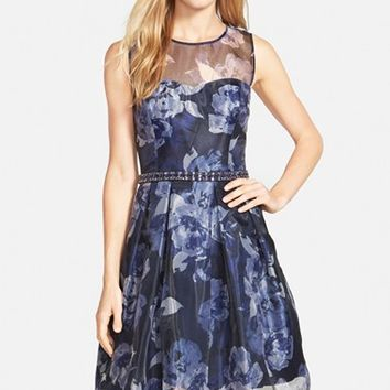 Women's Eliza J Embellished Print Illusion Yoke Organza Fit & Flare Dress,