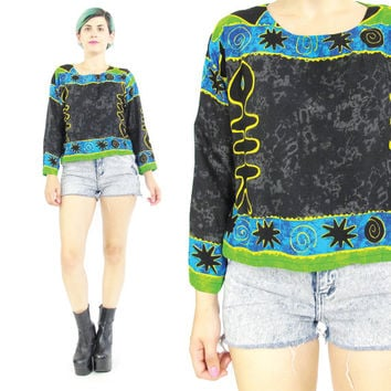 80s 90s Boho Batik Print Blouse Hippie Top Ethnic Print Shirt Black Blue Lime Green Fish Novelty Print Pullover Top Long Sleeves (S/M)
