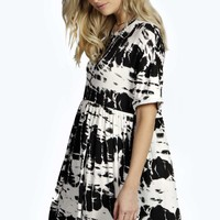 Katelyn Monochrome Splatter Print Smock Dress