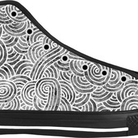 Grey and white swirls doodles Black High Tops