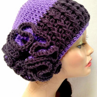 Crochet Flower Hat: Purple and Dark Gray