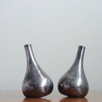 Vintage Dansk Silver Plated Mini Taper Candle Holders -- Pair