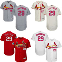 Red grey white cream Chris Carpenter Authentic Jersey , Men's #29 St. Louis Cardinals Flexbase Collection