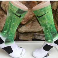 XTREME Glow in Dark Green Hurricane Galaxy Nike Elite Socks free shipping