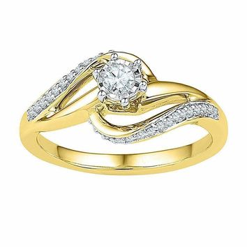 10kt Yellow Gold Women's Round Diamond Solitaire Swirl Bridal Wedding Engagement Ring 1/5 Cttw - FREE Shipping (US/CAN)