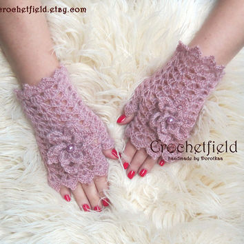 Powder Pink Crochet Mittens with Flowers, Fingerless Gloves, Lace Hand warmers, Wrist Cuffs ,Gift for her, Women's Fashion Accessory
