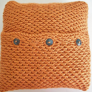 Orange Pillow Cover Knit 15x15 Handmade Pillow Cover Home Decor Mod Retro