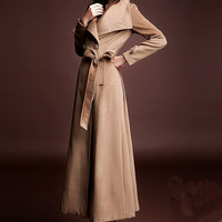 Big Turn Down Collar Slim Fit Cashmere Fleece Women's Long Trench Coats Outwears W/belt Carmel
