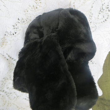 mid century Black faux Fur hat men russian hat made in RUSSIA men Winter Hats Trapper Hat soviet warm hat mens trapper hat sz 56