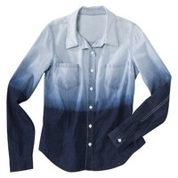 Target : Mossimo Supply Co. Juniors Long Sleeve Button Down Shirt - Ombre Wash : Image Zoom