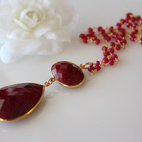 Large Deep Red Ruby Pendant Necklace, Huge Pendant, Burgundy Gemstone, July Birthstone,Gold Vermeil, Witches of east end inspired