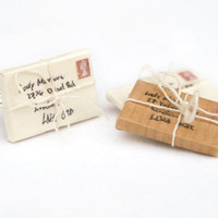 Letter Envelope Ring Tied With String Love by PeachesandPebbles