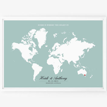 Wedding Gift Personalized Anniversary or Wedding Custom World Map 13 x 19 Art Poster