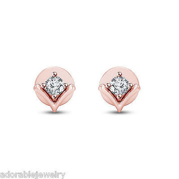 Rose Gold Over 925 Sterling Silver White Diamond Solitaire Mini Stud Earrings