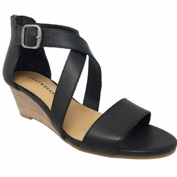 ONETOW Lucky Brand Jenley Black Wedge Sandals