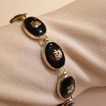 Vintage Hand Made 925% Sterling Silver Crystal Filligree Black Jet Onyx Cinese Lucky Bracelet