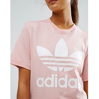 shosouvenir :adidas Originals Unisex White Three Stripe Boyfriend T-Shirt