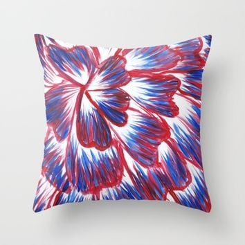 Red, White, and Blue Dahlia Throw Pillow by Lindsay