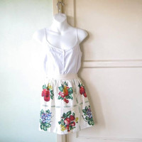 Flawed, Charming Vintage Fruit Graphic Apron; 1940s-'50s Half Apron For Canning, in Grape/Strawberry/Cherry Print; U.S. Shipping Included
