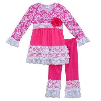 Girls Floral Swing Top Lace Ruffle Pants Sets Valentine Day