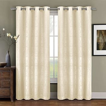 IVORY 52x84 Prairie Blackout weave Embossed Grommet Curtains Panels