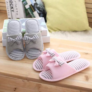 Summer Stripes Butterfly Peep Toe Lovely Cotton Waterproof Anti-skid Shoes Slippers [4920574916]