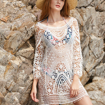 White Hollow Out Crochet Open Back Tassel Tie Cover Up