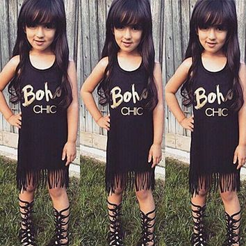 2016 New Hot Sale Toddler Kids Baby Girl Summer Clothes Sleeveless Tassel Mini Dresses Letter Boho Print summer clothes