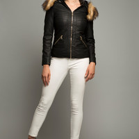 Faux Fur Trim hood Jacket