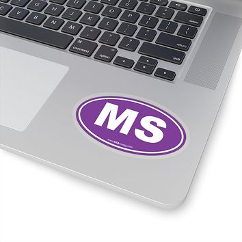 Mississippi MS Euro Oval Sticker SOLID PURPLE