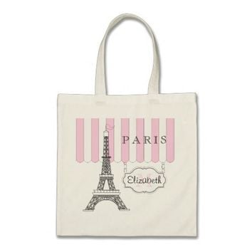 Pink | White Paris Eiffel Tower Monogram Name Tote Bag