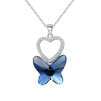 925 Sterling Silver CZ Love Heart Butterfly Pendant Necklace Denim Blue Made with Swarovski Crystals