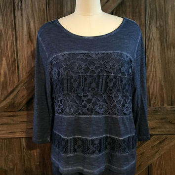 Chico's denim Blue Top sz 3 XL Lace - Lined tunic
