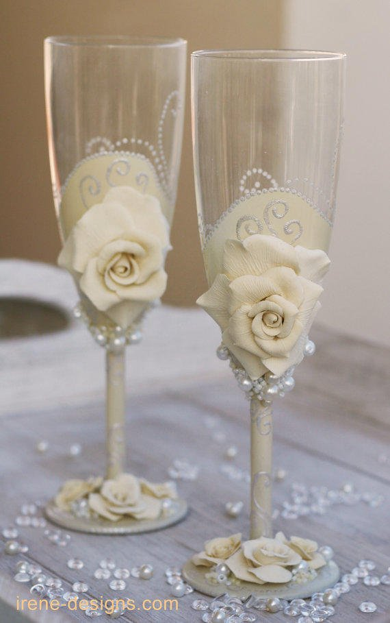 Wedding Champagne Glasses Hand Painted From IrenDesigns On Etsy