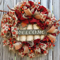 Fall Deco Mesh Wreath - Autumn Deco Mesh Wreath - Thanksgiving Deco Mesh Wreath - Welcome Mesh Wreath - Pumpkin Mesh Wreath - Fall Wreath