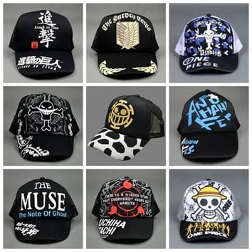 Japan Anime One Piece Skull Muse Sword Art Online Attack On titan Men Women Boys Girls  Base ball Cap Hat Cosplay Accessories