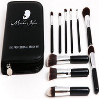 Professional Kabuki Makeup Brush Set By Artist Malika Jafrin ❃ Premium 10 Piece Kit for Your Cosmetic Needs (Face & Eye) ❃ Brushes for Foundation (Cream, Powder, & Mineral), Blush, Concealer, Bronzer & More