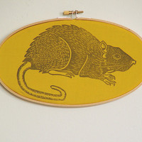 Goth Rat Hoop Art- Plague Friendly Decor- Linocut Print- 5 x 9 inch