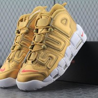 Nike Air More Uptempo Supreme x 902290-700 For Women Men Running Sport Sneakers Golden
