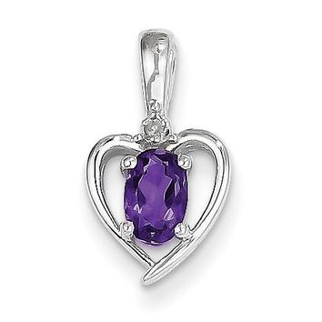 14k White Gold Genuine Oval Amethyst and Diamond Heart Pendant