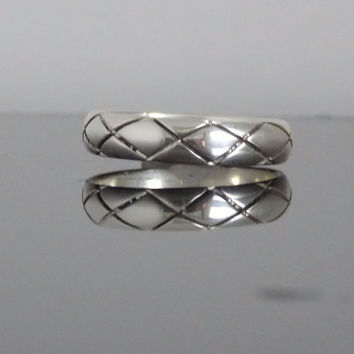Hand Made X design Ring Out Of Solid Sterling Silver Thin Band