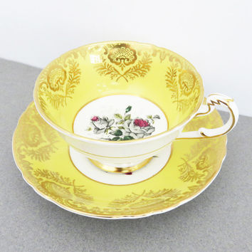 VIntage Paragon yellow tea cup and saucer with gray roses and gold trim - By appointment to her majesty the Queen China Potters