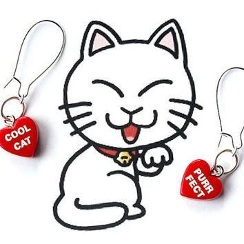 PYKNIC2 conversation heart earrings, cat jewelry, pet earrings, red heart earrings, an