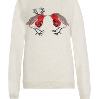 Cream Sequin Robins Christmas Jumper