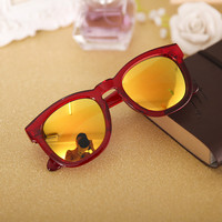 Red Celebrity Frame Reflective Sunglasses