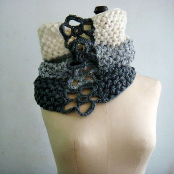 PDF PATTERN Crochet Cowl Snood, Ombre Circle Scarf, Flower Neck Warmer