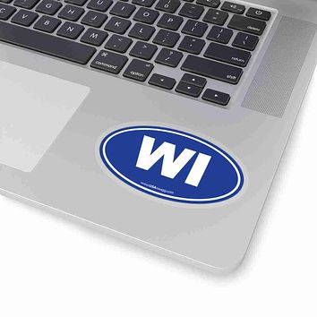 Wisconsin WI Euro Oval Sticker SOLID BLUE